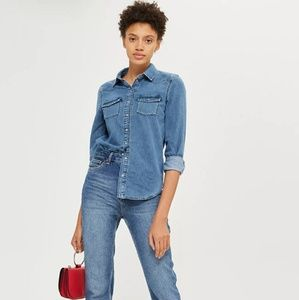 Topshop Fitted Denim Shirt, 8